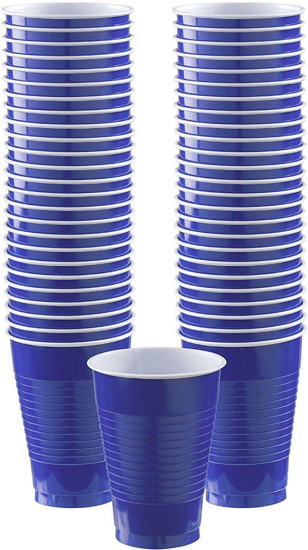 Big Party Pack Bright Royal Blue Plastic Cups