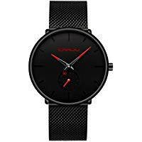 Men's Watch Ultra Thin Wrist Watches for Men Fashion Waterproof Dress Stainless Steel Band