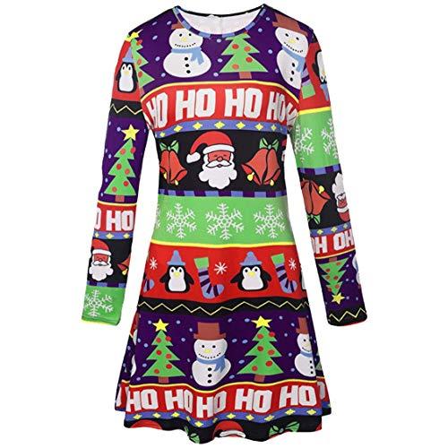 LaSuiveur Women's Christmas Santa Clause Print Pullover Flared A Line Dress
