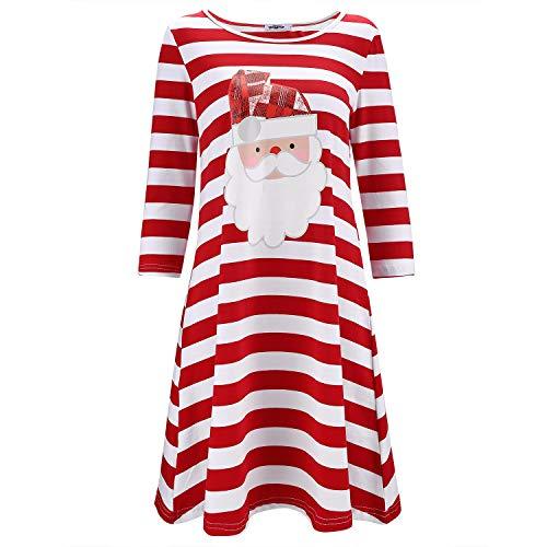 STYLEWORD Women's Three Quarter Sleeve Christmas Dress Stripe Elk