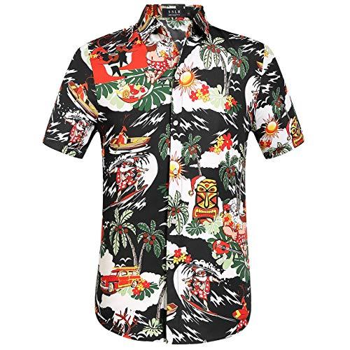 SSLR Men's Santa Clause Party Tropical Ugly Hawaiian Christmas Shirts