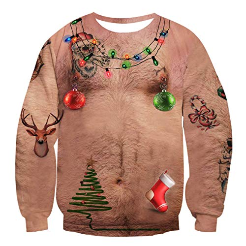 Unisex Funny Ugly Christmas Sweater 3D Printed Crew Neck Pullover Sweatshirts