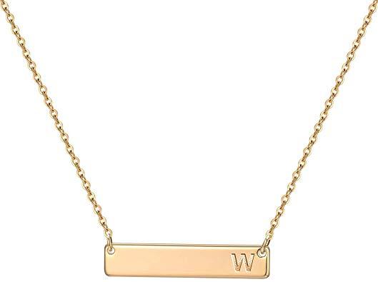 M MOOHAM Bar Inital Necklace