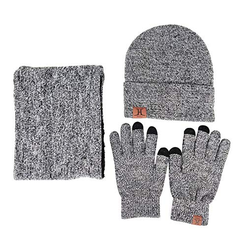 JOYBUY Men 3PCS Knitted Set Winter Warm Knit Hat, Scarf, and Gloves