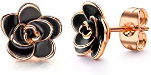 AllenCOCO 18K Gold Plated Black Rose Flower Stud Earrings