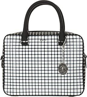 DKNY Bryant Genuine Leather Checkered Grid Satchel