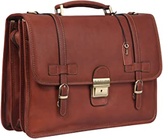 Banuce Vintage Full Grains Italian Leather Briefcase for Men