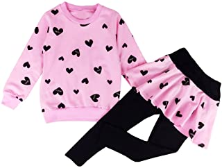 DDSOL Little Girls Clothing Set Outfit Heart Print Hoodie