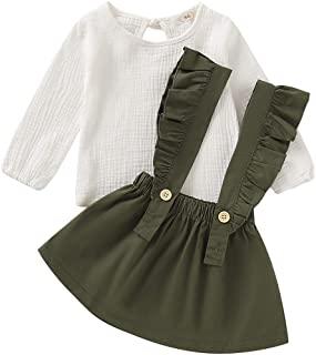 Baby Girl Linen Suspender Skirt Set Toddler Girls Long Sleeve Shirts