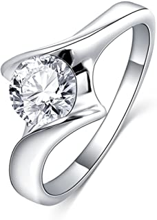 LuckyWeng New Exquisite Fashion Jewelry Platinum Diamond Ring