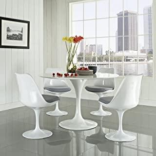 Modway Lippa Mid-Century Modern Upholstered Swivel Kitchen and Dining Set
