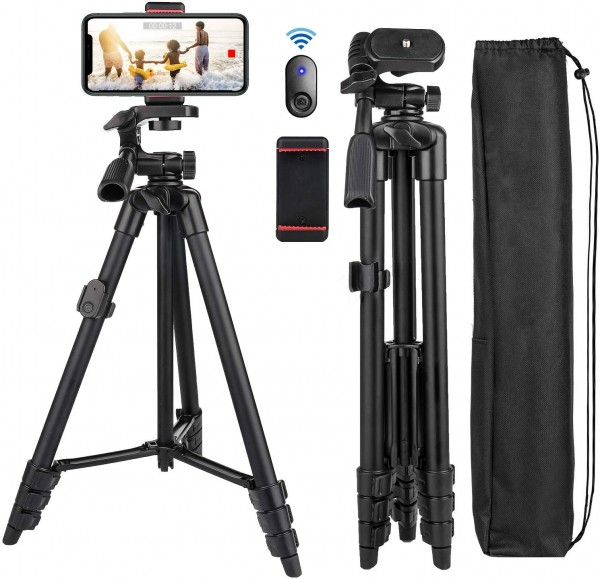 Cell Phone Tripod Nagnahz 55inch Selfie Stick Tripod with Bluetooth Remote 360 Panorama Pan Head