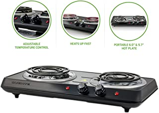 OVENTE BGC102B Electric Double Coil Burner