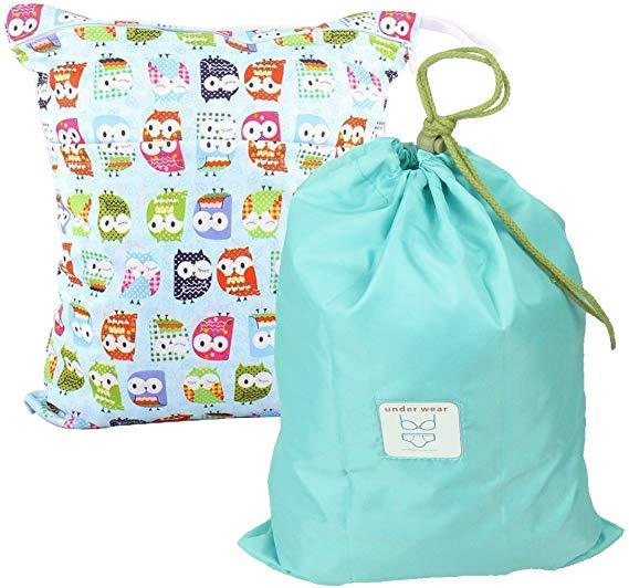MyKazoe Waterproof Wet Bag Two Zippered Pockets & Multipurpose Drawstring Bag