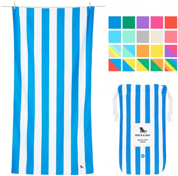 Dock & Bay Microfiber Towel - Beach & Travel (Blue - Extra Large 78x35) - Huge & Compact, Absorbent & Quick Dry
