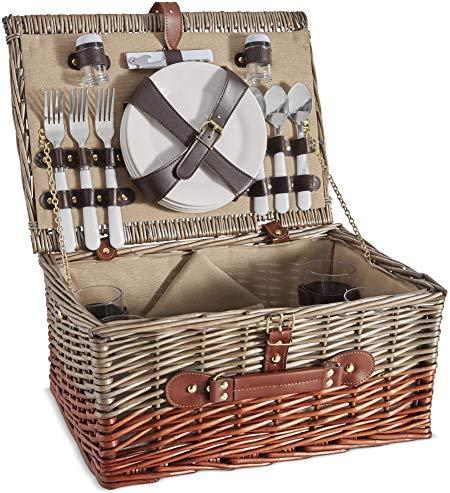 VonShef 4 Person Wicker Picnic Basket Set