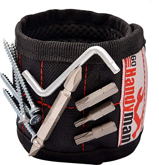Magnetic Wristband for Holding Tools and Screws