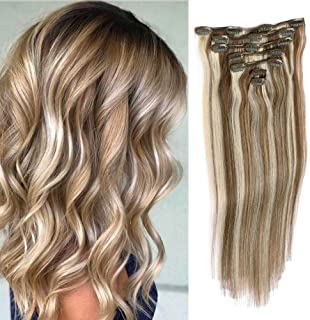 Remy Clip In Hair Extensions Blonde Balayage