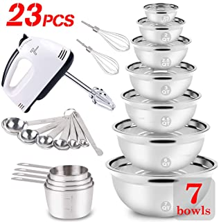 WEPSEN Mixing Bowls Set Electric Hand Mixer Stainless Steel
