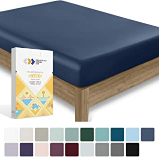 California Design Den 400 Thread Count, 100% Cotton Fitted Bed Sheet
