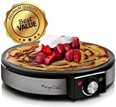 MegaChef Round Stainless Steel Crepe and Pancake Maker