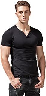 XSHANG Mens Short Sleeve V-Neck Henley Shirts Slim Fit Casual Tee