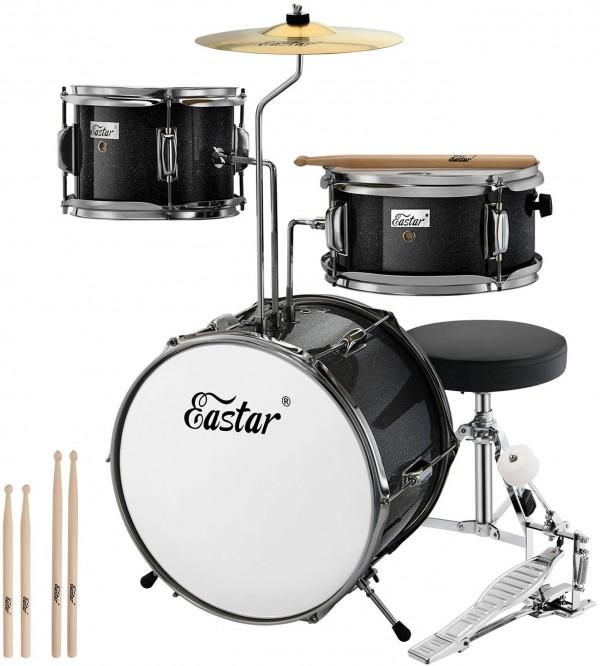 Eastar 14-inch Kids Drum Set 3 Piece with Throne, Cymbal, Pedal, and Drumsticks
