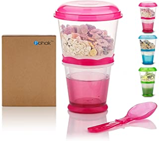 Cereal On the Go Cups Breakfast Drink Cups Portable Yogurt and Cereal To-Go Container Cup