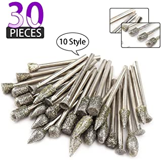 30 Pieces Diamond Grinding Burr Drill Bit Set