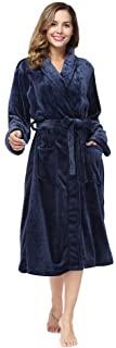 RONGTAI Fleece Robe for Women Plush Soft Warm Long Bathrobe