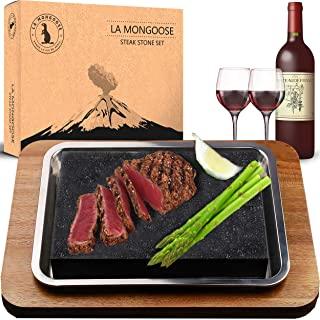 Extra Large Steak Stone Set Premium Granite Lava Stone