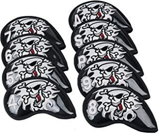 9 Pieces Set Golf Iron Club Head Covers Skull Embroidery