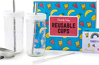 Reusable Boba Bubble Smoothie Cups with 2 Lids and Metal Straws