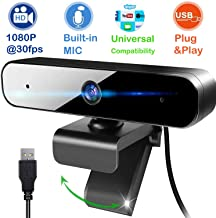 Full HD 1080P Web Camera Plug & Play USB Webcam with Built-In Dual Microphone