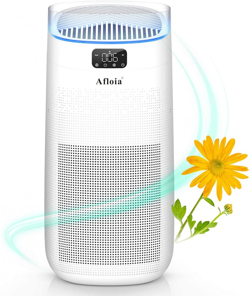 Afloia Air Purifier for Home, H13 True HEPA Air Filter for Large Room Up to 500ft²,Remove 99.97%Odors Smoke Dust Pollen 3-in-1 Air Cleaner 25dB Quiet- White