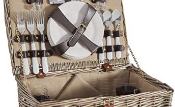 VonShef 4 Person Wicker Picnic Basket Set